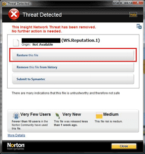 Norton detection message